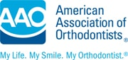 Logo for American Association of Orthodontists, of which Dr Sanoudos from the Clinic is a member.