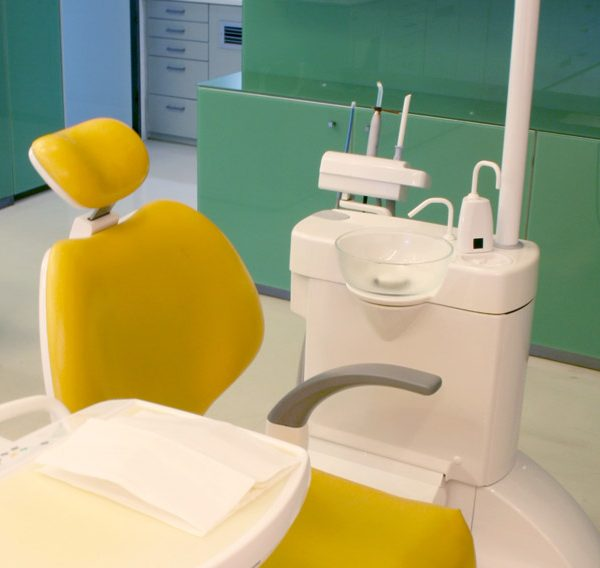 Dental chair inside the Sanoudos Kapakian practice, an Orthodontic Clinic in Glyfada, Athens.
